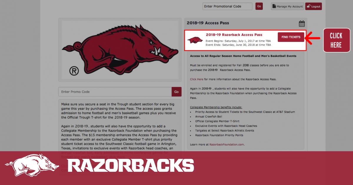 Student Razorback Access Pass Arkansas Razorbacks