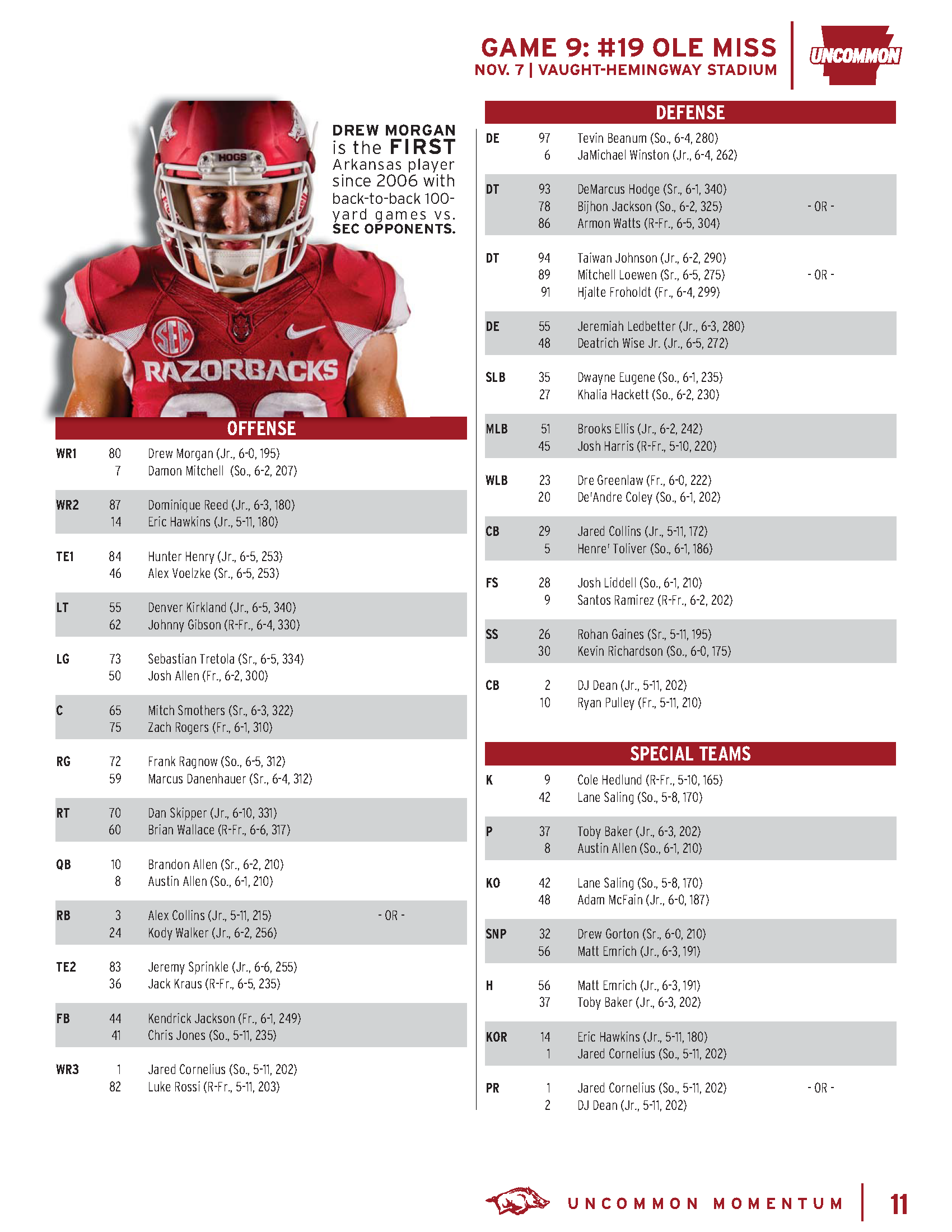 Ole miss gameday colors 2015 - Depth Chart