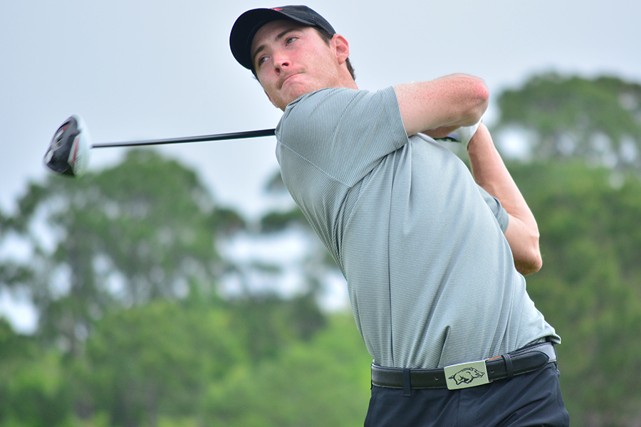 Arkansas during the first round of the SEC Men's Golf Championship at Sea Island Golf Club's Seaside Course on Sea Island, Ga., on Friday, April 17, 2015. (Photo by Steven Colquitt)