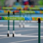 Aug 12, 2016; Rio de Janeiro, Brazil;  Hurdles event at Estadio Olimpico Joao Havelange in the Rio 2016 Summer Olympic Games. Mandatory Credit: Kirby Lee-USA TODAY Sports