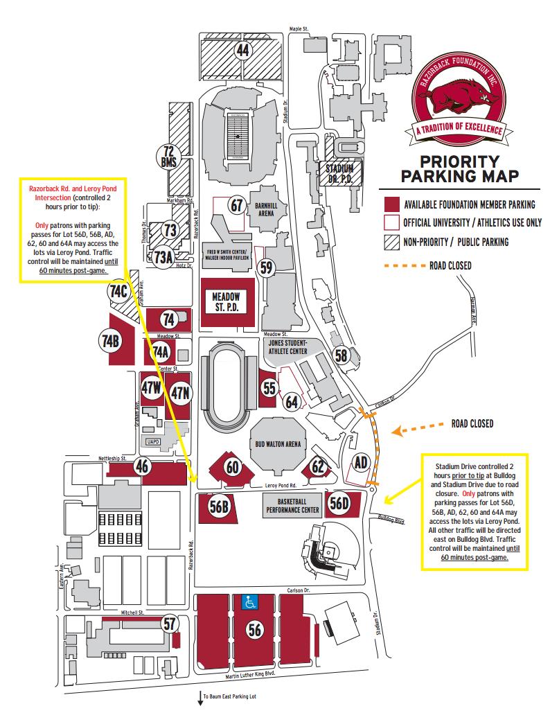 hogs rout georgia on senior day arkansas razorbacks parking map