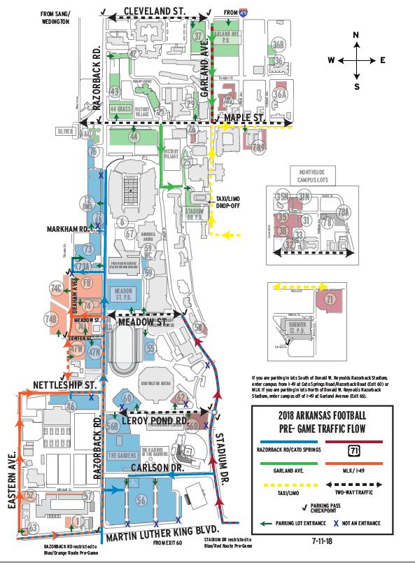 campus pregame traffic routes