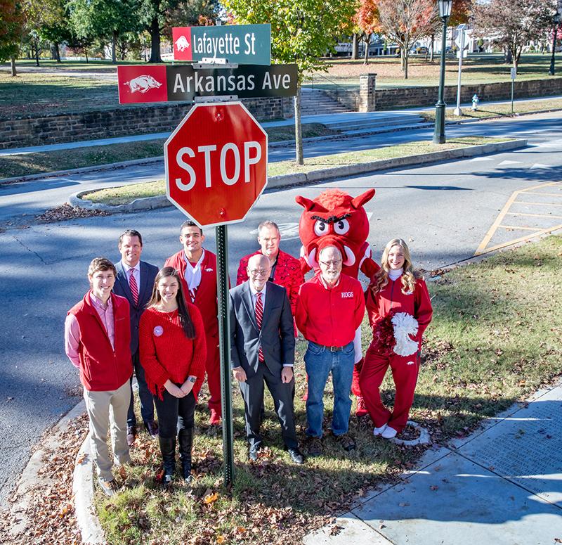 Razorback Street Signs Promote Campus Spirit