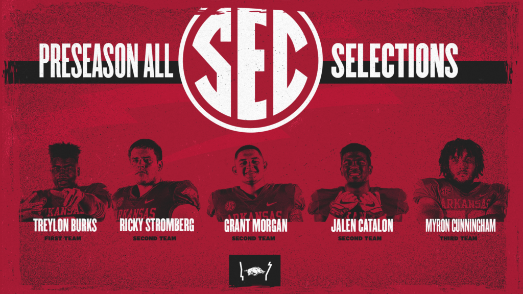 Five Hogs Garner Preseason All-SEC Honors; Burks Headlines with First-Team Recognition