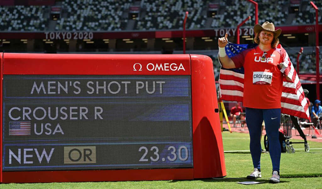 Ryan Crouser defends shot put gold with three Olympic records