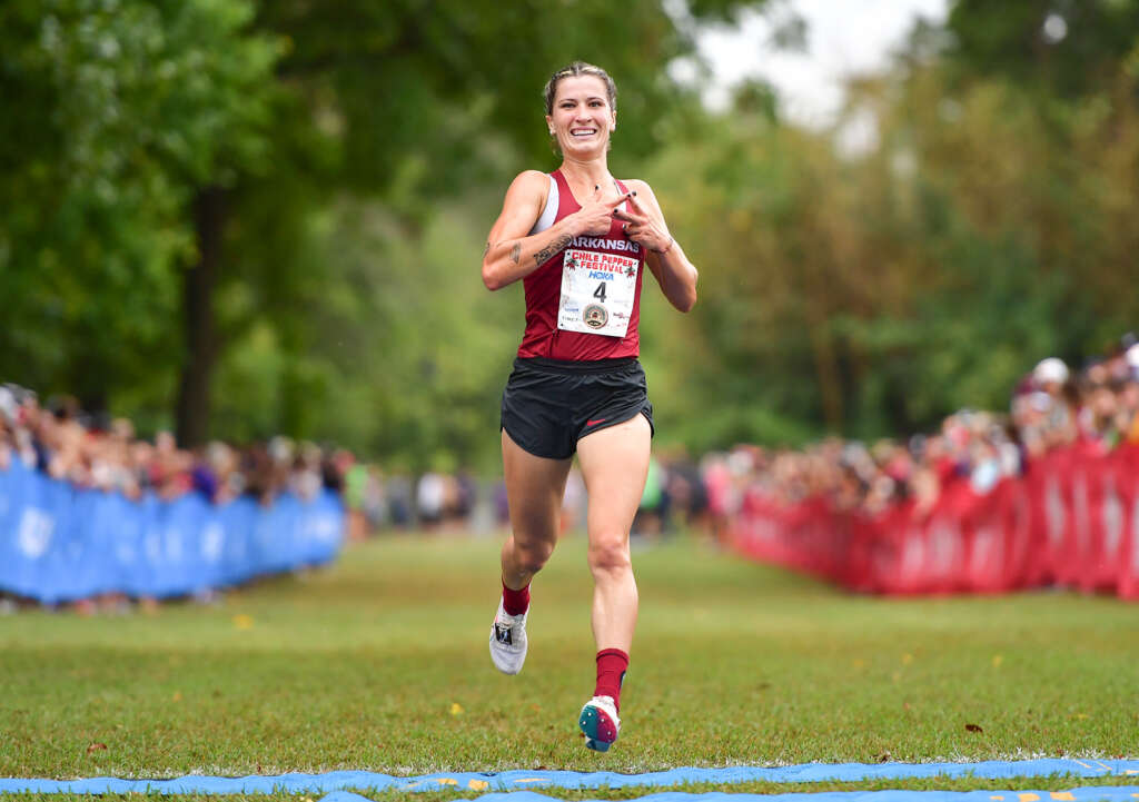 Krissy Gear secures first victory in leading Razorbacks to team title